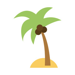 isolated island with palm tree icon image vector illustration design
