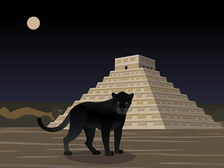 Maya, Aztec, Inca Civilization, city in the jungles, black panther and Mayan temple, Panther in the night, vector illustration