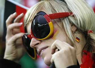 German fan cheers before Euro 2012 quarter-final soccer match against Greece at PGE Arena in Gdansk