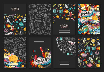 ards vector template illustration of space. Moon, planet, rocket, earth, cosmonaut, comet universe Classification milky way osmos