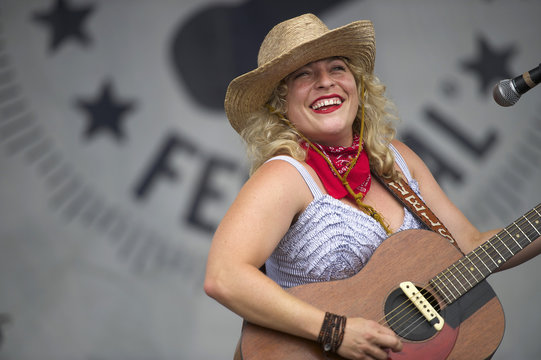 Cary Ann Hearst of folk band duo Shovels and Rope performs during the Newport Folk Festival in Rhode Island