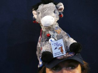 A convention-goer sports a stuffed toy donkey, a symbol of the mascot of the political party, on her cap during the second session of the Democratic National Convention in Charlotte