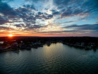 Sunset flying over Texas lake