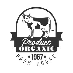 Organic product farm house logo. Black and white retro vector Illustration