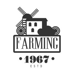 Farming estd 1967 logo. Black and white retro vector Illustration