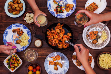 Set The Table For Dinner -  Shrimps, Salmon and Vegetable