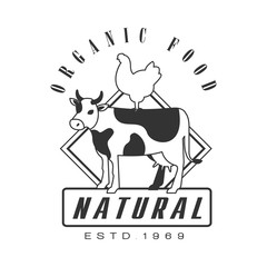 Natural organic food estd 1969 logo. Black and white retro vector Illustration