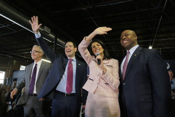 U.S. Republican presidential candidate Marco Rubio waves along with South Carolina Governor Nikki Haley as U.S. Representative Trey Gowdy and U.S. Senator Tim Scott look on during a campaign event at Swamp Rabbit Crossfit in Greenville