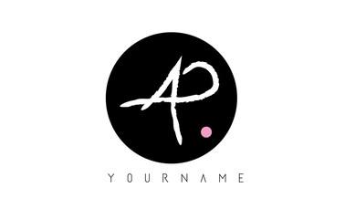 AP Handwritten Brush Letter Logo Design with Black Circle.