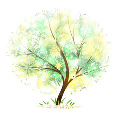 wonderful decorative summer tree with flecks of sunlight and floral mandalas, vector illustration.