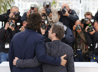 Cast members Benicio Del Toro and Mathieu Amalric pose during a photocall for the film 'Jimmy P.' at the 66th Cannes Film Festival in Cannes