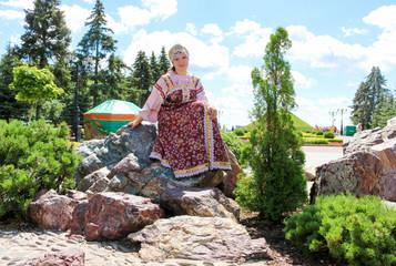 Portrait of woman in Russian folk costume