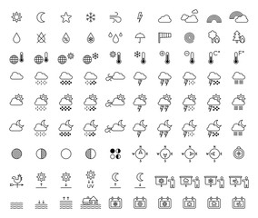 WEATHER FORECAST & METEOROLOGY outline icons