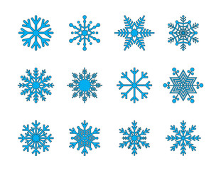 Snowflakes Vector Filled Line Icons