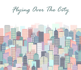 City landscape vector illustration. Urban skyline. Background with buildings in flat style.