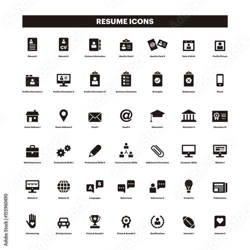 u0026quot cv  u0026 resum u00e9 black solid icons u0026quot  stock image and royalty-free vector files on fotolia com