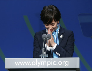 Japanese TV presenter Christel Takigawa speaks during the presentation by the Tokyo 2020 bid committee to host the 2020 Summer Olympic Games, in Buenos Aires