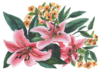 Watercolor pattern with bouquets on a white background