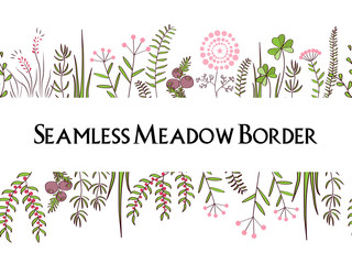 Wall Mural - Meadow herbs seamless borders background. Illustration for posters, greeting cards, and other printing projects.