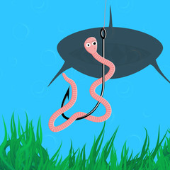 Funny illustration with worm on the hook and shark in the water