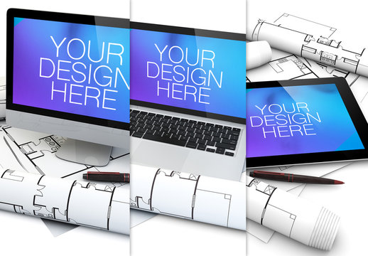 3-in-1 Device and Building Plan Mockup
