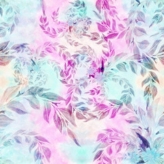 Leaves and branches are a decorative composition, perfumery and cosmetic plants. Seamless pattern. Wallpaper. Use printed materials, signs, posters, postcards, packaging.
