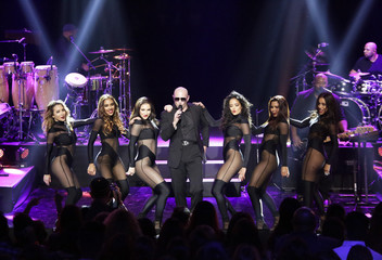 Rapper Pitbull performs on the Honda Stage at the iHeartRadio Theater Los Angeles in Burbank, California