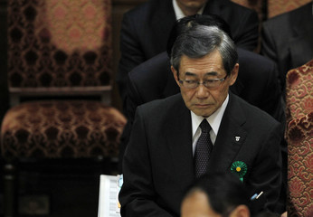 TEPCO President Shimizu, of the crippled Fukushima Daiichi Nuclear Power Plant attends budget meeting in Tokyo