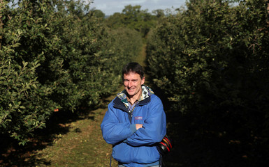 Migrant worker Kwapniewski poses for a picture while collecting apples at Stocks Farm in Suckley