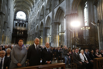 French politicians attend a funeral service to slain French parish priest Father Jacques Hamel at the Cathedral in Rouen