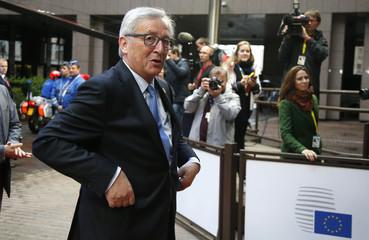 European Commission President Juncker  arrives to attend a Eurozone emergency summit on Greece in Brussels