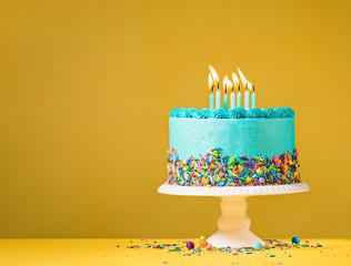 Blue Birthday Cake on Yellow