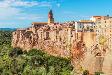 Fototapete - Old town on the rocks, Pitigliano ,Tuscany, Italy, Europe