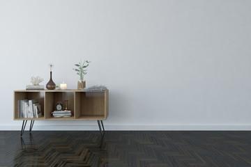 White modern empty room with shelf. Scandinavian interior design. 3D illustration