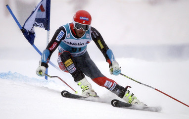 Miller of the U.S. skis to the second fastest time during the first run of the Men's World Cup Giant Slalom ski race in Beaver Creek