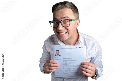 funny guy student businessman looking for a job and holding his