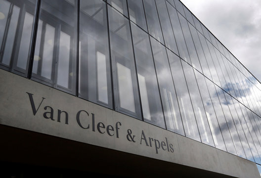A logo of jewelry maker Van Cleef and Arpels is pictured on  the Campus Genevois de Haute Horlogerie in Meyrin