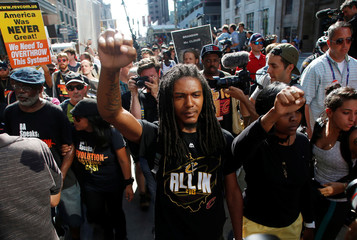 Protestors against police violence make their through the city near the Republican National Convention in Cleveland, Ohio, U.S.,