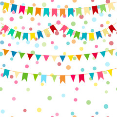 Colorful flags, vector carnaval seamless pattern. Kids festive background with bright ribbons. Birthday, Party feast decor.