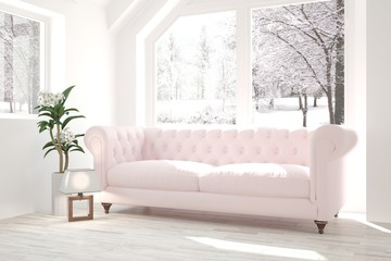 White modern room with sofa and winter landscape in window. Scandinavian interior design. 3D illustration