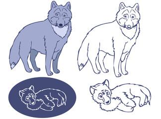 Wolfs- Big and cub stencil