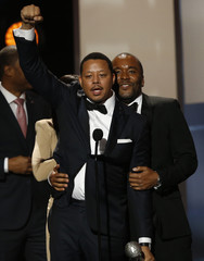 "Howard and show creator Daniels accept the award for Outstanding Drama Series of ""Empire"" at the 47th NAACP Image Awards in Pasadena"