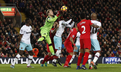 Liverpool's Loris Karius in action during the match