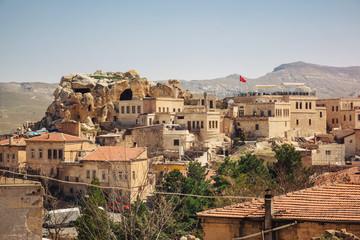 Urgup village landscape with old cave houses, Cappadocia