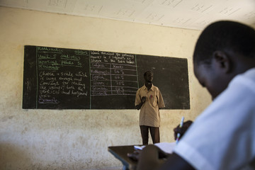 James teaches mathematics at the Juba One Girls Basic Education School in Juba
