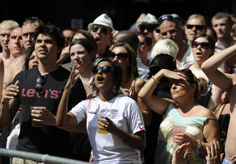 England fans react while watching their 2010 World Cup soccer match against Germany, at a bar in east London
