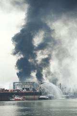 Firefighters try to extinguish fire at the factory of chemicals giant BASF in Ludwigshafen