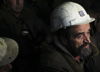 A Kosovar miner goes on strike with others in the Trepca mine in north Kosovo