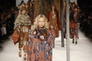 A model presents a creation by Italian designer Antonio Marras as part of his Fall/Winter 2010/11 women's ready-to-wear fashion collection for Japanese fashion house Kenzo in Paris