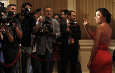 Longoria waves as she arrives at Variety's 3rd Annual Power of Women luncheon in Beverly Hills